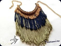 """Libra"", fringe statement necklace"