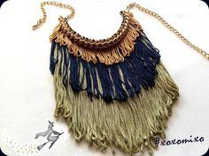 """Libra"", fringe statement necklace"
