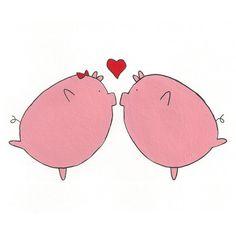 Love Pigs 5x5 Digital Print by Hikaru811 on Etsy, $8.00