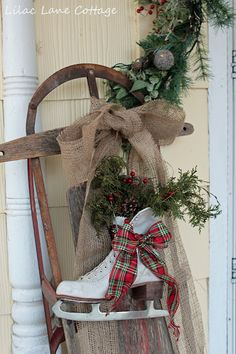 Gorgeous Old Sled With Ice Skates & Pine...Lilac Lane Cottage: Decking The Halls.