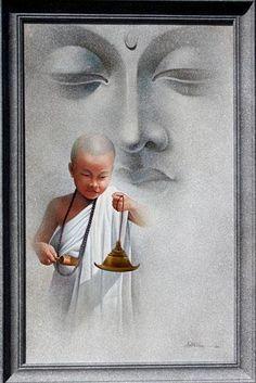 Buddha Face, Buddha Zen, Om Mani Padme Hum, Buddha Painting, Silk Painting, Charcole Drawings, Devin Art, Thai Art, Zen Meditation