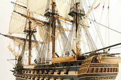 Close-up photos of ship model HMS Wellesley. HMS Wellesley was launched at Bombay in 1815 as a 74 gun ship. Model Ship Building, Old Sailing Ships, Close Up Photos, Hms Victory, Model Ships, Ship Of The Line, Wooden Ship, Submarines, Art Model
