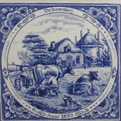 Blue And White China, Blue China, Windmill Art, Delft Tiles, Blue Pottery, Seashell Crafts, China Painting, Tile Art, Blue Design
