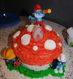 Smurf cake, for eli's birthday party
