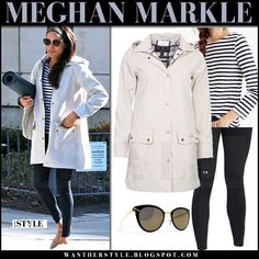 Meghan Markle in cream canvas jacket, striped top and black leggings