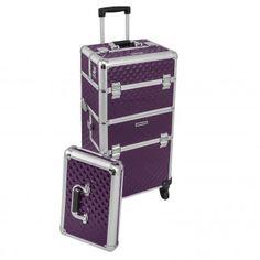 anndora® Trolley 4 Rad Pilotenkoffer aubergine Aluminium Beauty Case Teleskop  | Violett/Aubergine