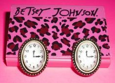 Betsey Johnson Earrings – Do You Got The Time Studs – Free Shipping $10.95