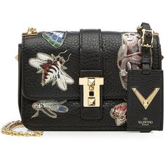 Valentino Leather Shoulder Bag (£1,405) ❤ liked on Polyvore featuring bags, handbags, shoulder bags, multicolor, leather handbags, genuine leather handbags, embroidered purse, leather purses and structured handbags