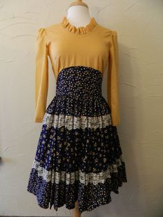 Vintage Mustard and Navy Square Dance Dress // by lovelydovelyone