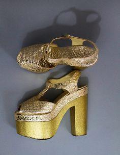 1970s wild vintage GOLD CUSTOM PLATFORM Bowie Glam Rock leather carved wood wedges platforms heels disco studio 54 ...