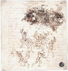 3-9  Leonardo da Vinci, Horsemen and Foot Soldiers in Battle [for Battle of Anghiari], 1503-1506. Pen and ink over black chalk, 16.4 x 15.2 cm. Galleries dell'Accademia, Venice.