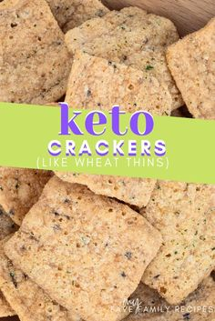 These yummy Keto Low Carb Wheat Crackers are just like those famous delicious Wheat Thins! Craving crackers but doing low carb? Check out this recipe for keto low carb wheat crackers like wheat thins! Low Carb Desserts, Low Carb Recipes, Baking Recipes, Snack Recipes, Kitchen Recipes, Vegetarian Recipes, Dessert Recipes, Healthy Recipes, Low Carb Crackers