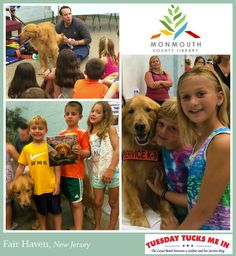 """Friends & furry fun at Fair Haven Library @monmouthctylib for """"Tuesday Tucks Me In!"""" — with Tuesday in New Jersey. [June 2015]"""