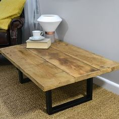 Industrial Reclaimed Coffee Table On Steel Base - coffee tables
