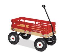 Radio Flyer All-Terrain Cargo Wagon Radio Flyer  - Most of us remember having an old red wagon, perhaps doing some unadvisable things in it.  Larger ones can be equipped with a canopy and a blanket for naps. These do sometimes get used as stroller replacements, or stolen by parents for yardwork, and removable raised sides would help with both. http://www.amazon.com/dp/B00000K1VR/ref=cm_sw_r_pi_dp_UZCQsb0AC18GHMNH