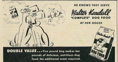"Vintage 1940s illustrated magazine advertisement, Walter Kendall ""Complete"" Dog Food, 1945 Published in The Family Circle magazine, November 9, 1945, Vol. 27 No. 18. Fair use/no known copyright. If you use this photo, please provide attribution credit; not for commercial use (see Creative Commons license)"