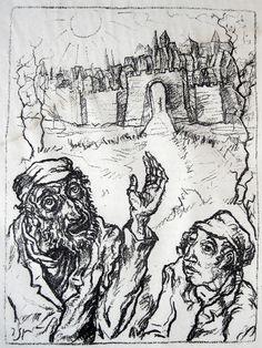 JACOB STEINHARDT Messias Zeiten, Orig.-Lithographie 1920 Judaica יעקב שטיינהרדט