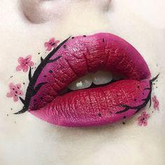 lip art tutorial in 2019 рас Lip Art, Lipstick Art, Lipstick Colors, Lipsticks, Lip Colors, Doll Makeup, Eye Makeup Art, Lip Makeup, Crazy Makeup