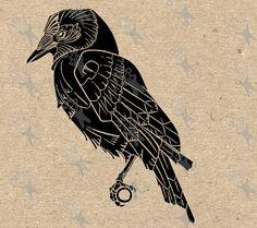 Digital printable image vintage Art Nouveau Raven by UnoPrint Art Nouveau Tattoo, Images Vintage, Vintage Art, Wall Art Prints, Fine Art Prints, Raven Art, Digital Backdrops, Digital Collage, Scrapbooking