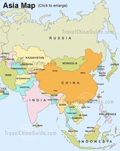 Map Of ASIA Continent Fact About Of The Worlds Population - Simple map of asia for kids