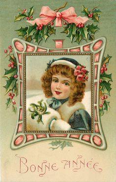 Ellen H Clapsaddle Victorian Girl Emerald Coat White Fur Muff Frame Emboss Kopal | eBay