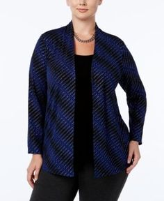 Jm Collection Plus Size Striped Layered-Look Top, Only at Macy's - Blue 1X