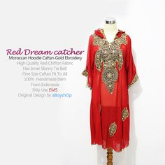 Moroccan Red Hoddie Caftan Dubai Abaya Maxi dress Gold by aboyshop, $55.55
