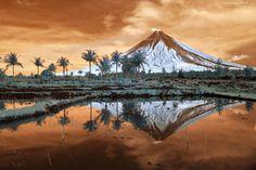 Filipiny, Wyspa, Wulkan, Mayon, Drzewa, Morze, Odbicie