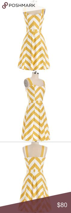 Atta Twirl Dress There you go again, spinning through your day like the adorable stylista that you are. Today's twirl-worthy look is this chevron dress - a marigold-and-white ModCloth-exclusive by Bea & Dot! Decorative buttons dot their way down the front of this lined, pocketed dress, and the sweetheart neckline is pure, precious perfection! Modcloth Dresses