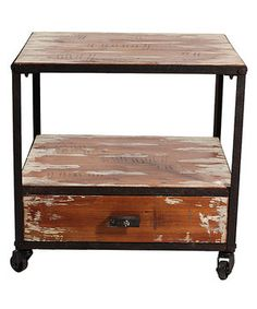 ~♡☆♡☆♡☆♡☆♡☆♡☆♡☆♡~  {}  ~☆♡☆♡☆♡☆♡☆♡☆♡☆♡☆~  {}  ~♡☆♡☆♡☆♡☆♡☆♡☆♡☆♡~  Distressed Wood Rolling Side Table by Entrada Collection Inc. #zulily #zulilyfinds