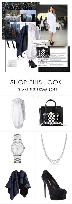"""""""The True Meaning of Gorgeous"""" by trudith ❤ liked on Polyvore featuring rag & bone, 3.1 Phillip Lim, Marc by Marc Jacobs, David Yurman, Burberry, Gianmarco Lorenzi, white, whiteshirt, cape and WardrobeStaples"""