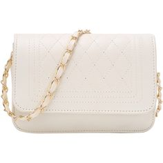 Faux Leather Qulited Flap Chain Bag ($9.99) ❤ liked on Polyvore featuring bags, handbags, shoulder bags, white, satchel crossbody, crossbody purse, white crossbody handbags, handbag satchel and vegan handbags