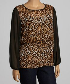 Take a look at this Brown & Black Leopard Sheer Scoop Neck Top - Plus by Moa Collection on #zulily today! $15 !!