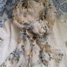 HP. Delicate  floral scarf Pretty lightweight scarf. Was trimmed and hemmed to share and reduce bulk. Accessories Scarves & Wraps