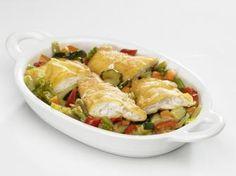 Cazuela de Verduras y Filetes de Merluza al Huevo