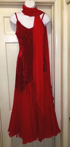 Red Velvet Top, Chiffon Panels Bottom, Competition Ballroom Dance Gown & Acc, 10  | eBay
