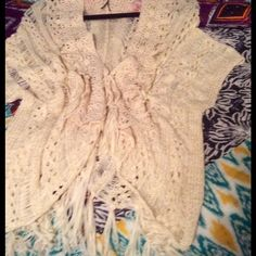 Fringed crochet topper Vanilla color fringed top.  Fringe at bottom.  Never worn.  Size small but will fit medium. Double Zero Tops