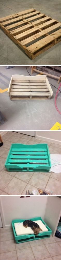 Cats Toys Ideas - Up-cycled Pallet Project: Dog Bed Pet Accessories, Dog Toys, Cat Toys, Pet Tricks - Ideal toys for small cats Pallet Projects, Diy Projects, Diy Pallet, Pallet Ideas, House Projects, Pallet Dog Beds, Palette Diy, Diy Dog Bed, Diy Bed