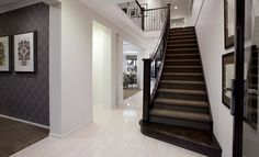 House Design: Waldorf - Porter Davis Homes Tiles like this instead of wood floors for entrance/hallway, wood on staircase instead of carpet Entrance Design, House Entrance, Porter Davis, Tiled Hallway, 4 Bedroom House Plans, House Tiles, New Homes, Floor Plans, House Design