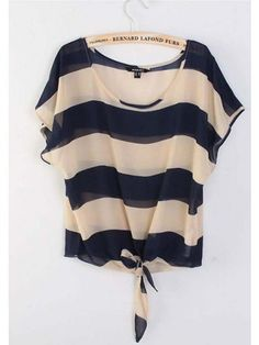 Women Euro Style Summer New Style Stripe Loose Scoop Sleeveless Navy Chiffon T-Shirt