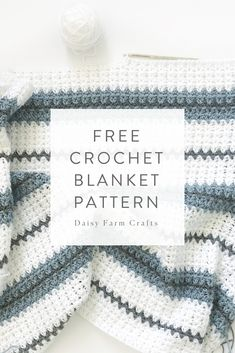 Free Crochet Blanket Pattern - Modern Double Crochet V-Stitch Blanket Crochet For Boys, Double Crochet, Crochet Baby, Striped Crochet Blanket, Crochet Blanket Patterns, Crochet Blankets, Knitting Patterns, V Stitch Crochet, Crochet Stitches