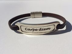 Carpe Diem Leather Bracelet by TBeadsGlass on Etsy