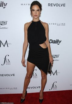 Black beauty: Alessandra Ambrosio was stealing stares thanks to her revealing dress at the Fashion LA Awards on Sunday