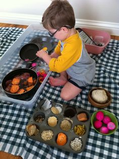 Fascinated by this Pretend Cooking With Real Ingredients for little ones.  I know my kids would have loved it!  She has them using a grater and whisk - great!  from Play Create Explor
