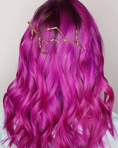 Loving these bright berry colored waves by - try our Mercury Pack for a similar look! Braided Hairstyles Updo, Down Hairstyles, Updo Hairstyle, Braided Updo, Prom Hairstyles, Updos, Plum Purple Hair, Bright Hair Colors, Eye Colors