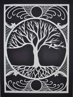 Original handmade paper cut of stylized tree and by BirchMoonArts