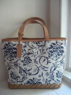 Ralph Lauren Canvas Handbag Purple Blue White