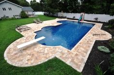 In this photo we see a beautiful pool patio made of yellow travertine paving stones. The small size and placement these colorful stones have been placed it create a clean cut look for this backyard scene. The roman end inspired shape for the in ground vinyl liner swimming pool also adds to this clean cut look. Around the patio we see various different types of outdoor furniture that allow this family to fully enjoy their backyard. http://www.gappsi.com/?p=21503