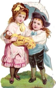 Oblaten-Glanzbild-scrap-die-cut-chromo-Kind-child-couple-doll-girl-umbrella