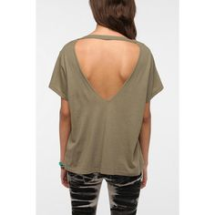 Truly Madly Deeply Open V-Back Tee ($24) ❤ liked on Polyvore